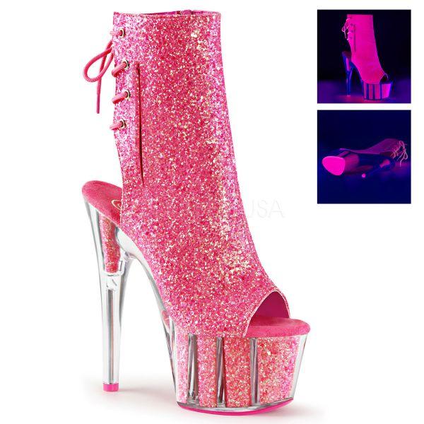Offene Schnür-Stiefelette mit Plateau neon pink Glitter Adore-1018G